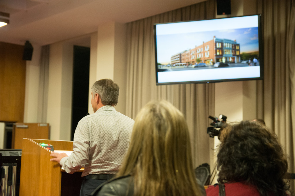 The architect responsible, Darryl Jonas, outlines the proposed redevelopment to city council during a meeting on Oct. 24. — Hugo Wong photo