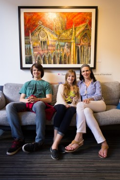 Tanya Horn (right) and her children sit on the gallery's namesake. –Adrian Paradis (photo)