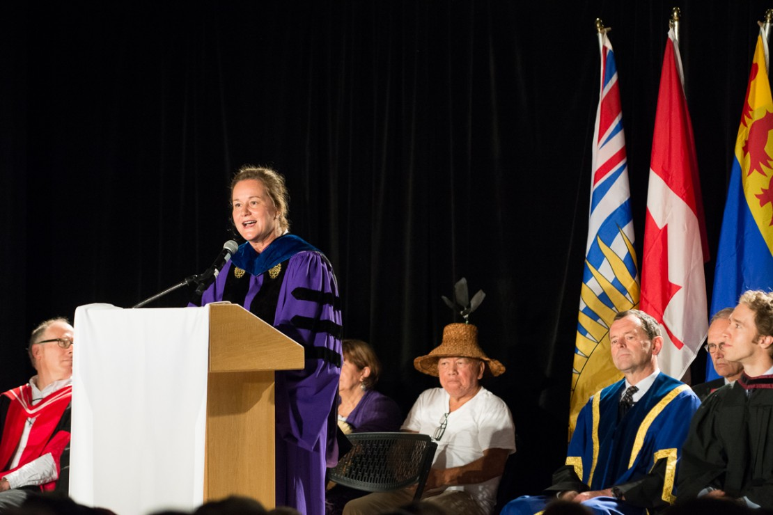 UVic VP Academic and Provost Valerie Kuehne welcomes first-year students to UVic on Sept. 2, 2014.