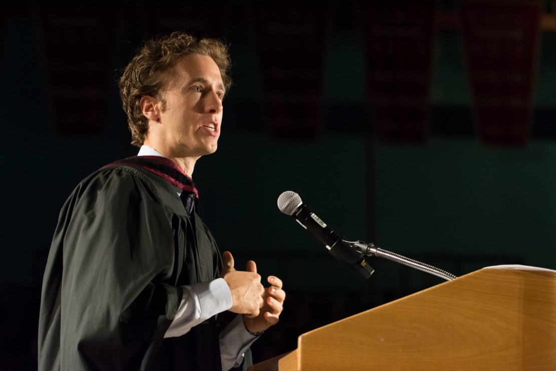 Free the Children founder Craig Kielburger addresses the first-years.