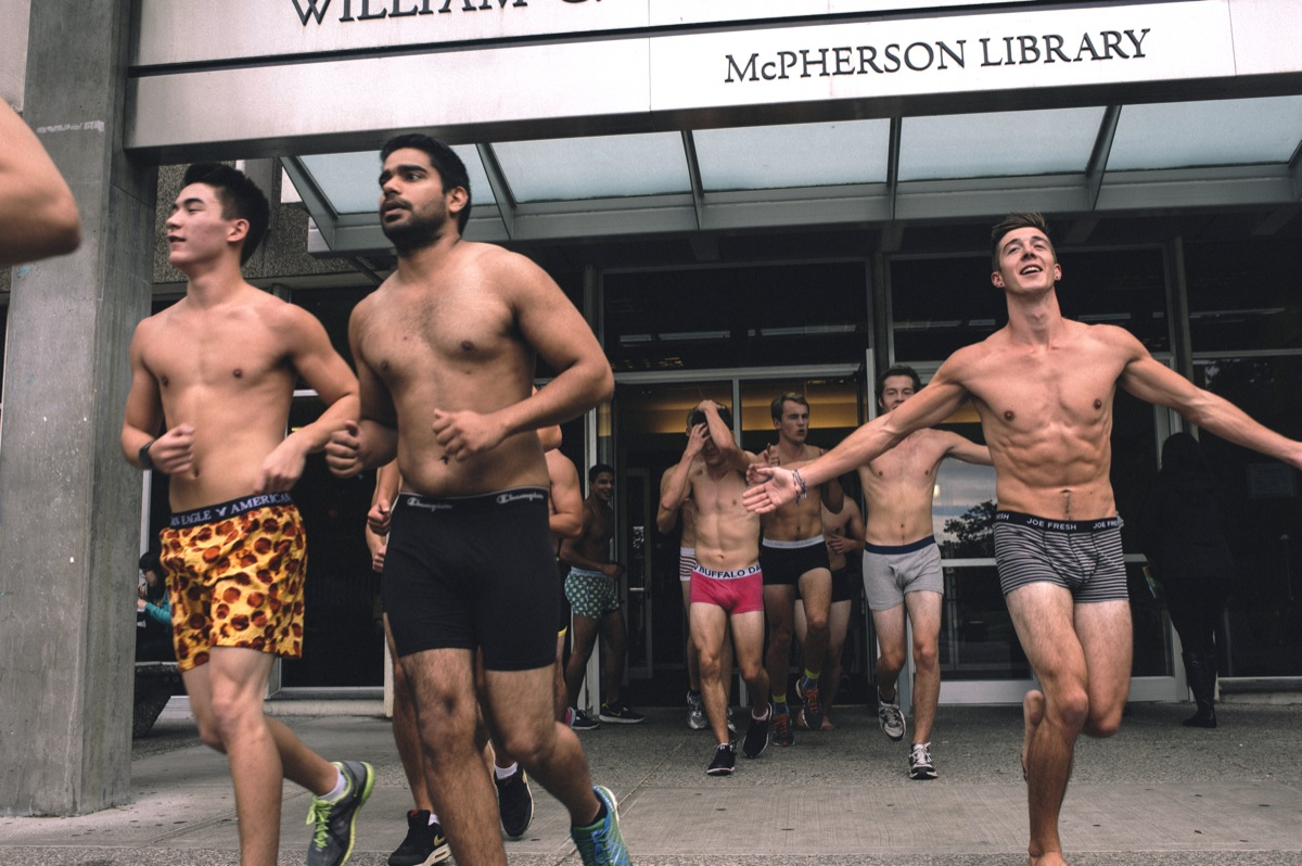 Runners leave McPhereson Library to begin this year's Undie Run. –Provided (photo)