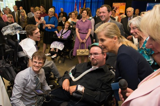 Dale Hampshire of CanAssist UVic demonstrates an adapted video game controller to Sophie Rhys-Jones, The Countess of Wessex, during a visit to the Bob Wright Centre at UVic on Sept. 13, 2014. She and her husband, Prince Edward, recently finished a five-day visit to B.C. –Hugo Wong (photo)