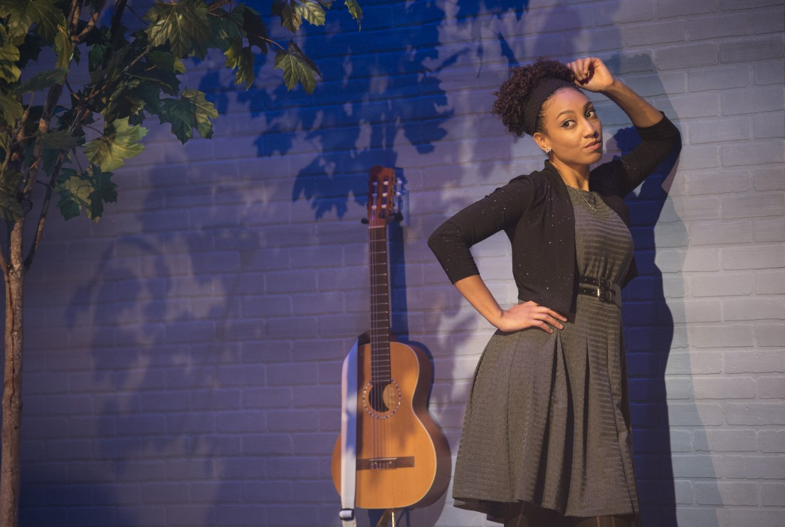 "Evangelia Kambites stars in ""I Think I'm Fallin' - The Songs of Joni Mitchell,"" which runs through Dec. 4 at the Belfry.  Photo by David Cooper/The Belfry Theatre"