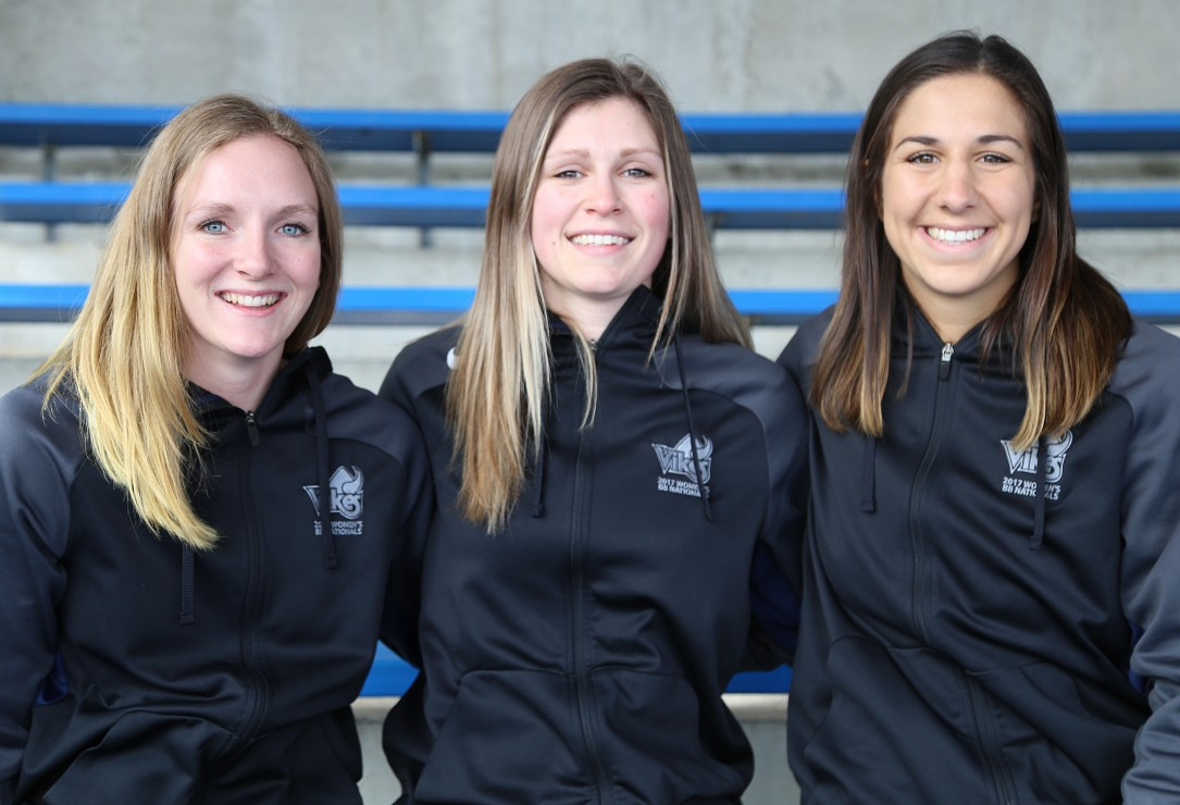 From left to right: Jenna Krug, Nicole Karstein, and Jenna Bugiardini are all saying farewell to the Vikes women's basketball team as they come to the end of their time at UVic. Photo by Belle White, Photo Editor