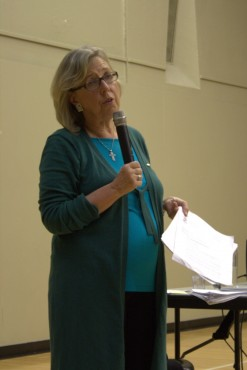 Saanich-Gulf Islands MP Elizabeth May recaps her year in Parliament at the Cedar Hill Rec Centre on Jan. 17, the last of two January town halls in Saanich. –Sarah Allan (photo)