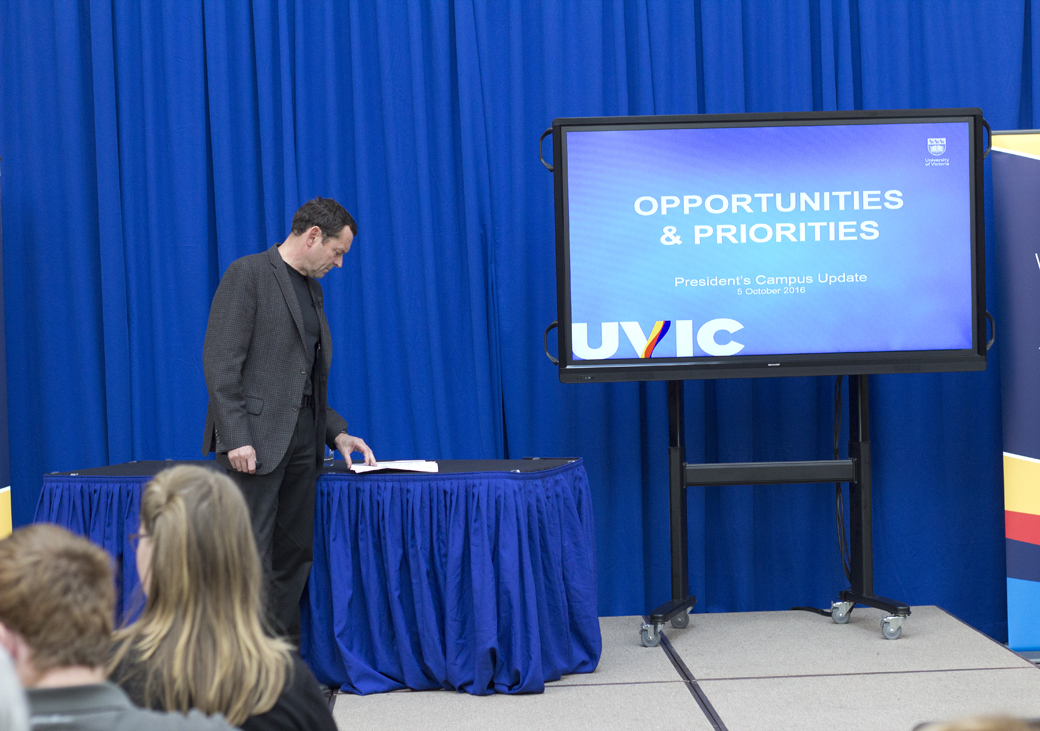 President Jamie Cassels prepares to speak at the President's Campus Update on Oct. 5. Photo by Cormac O'Brien, Staff Writer