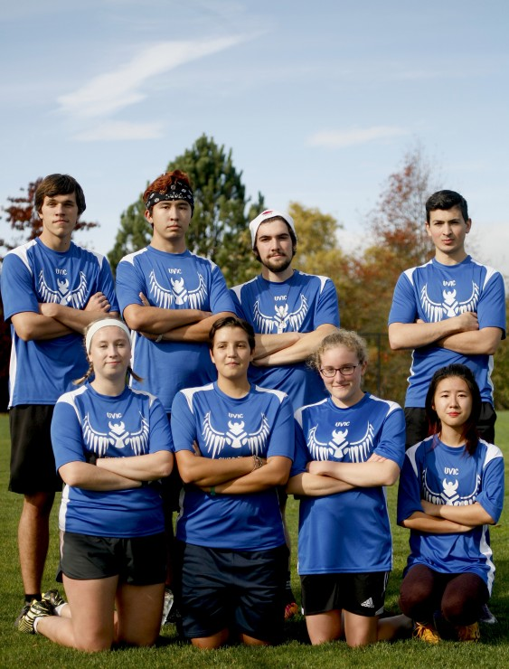 The UVic Valkyries. From left to right, front row: Soleil Heaney, Teigan Miller-Gauthier, Kassidy Smids-Dyk, and Cynthia Chao. Back row: Nicholas Planidin, Lee Johnson, Misha Whittingham, and Patrick McManus.  Photo by Belle White, Photo Editor