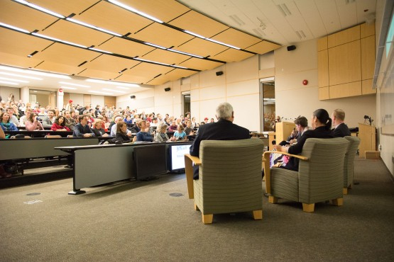 A roundtable discussion on climate change and divestment, including Divest UVic and Suncor Energies Inc., took place last January. Things have progressed slowly since. Photo by Hugo Wong