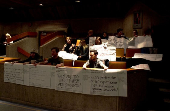 Students and UVSS directors protested against residence fee increases at the Board of Governors meeting on Nov. 24. Photo by Myles Sauer, Editor-in-chief