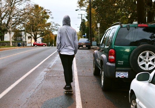 Skateboarding downtown is the focus of bylaws under consideration by Victoria City Council. Photo by Cayden Johnson