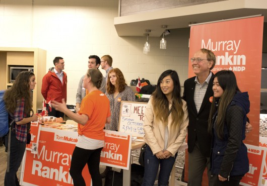 Incumbent MP Murray Rankin meets with students at the Candidates Fair on Oct. 7. Photo by Sarah Lazin.
