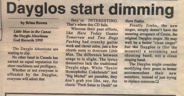 Brian Brown's original article disparaging the Dayglos, published on May 18, 1995. Credit via The Martlet.