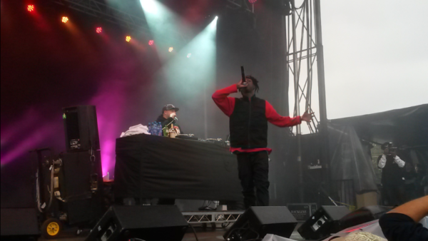 Joey Bada$$ (right) on stage at Rifflandia Festival. Bada$$ had some mic problems, but that didn't stop him from unleashing some sick rhymes. Photo by Emmett Robinson Smith.