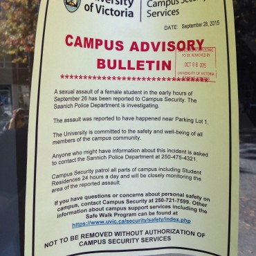 Bulletins like this were posted in various locations around campus after the sexual assault occurred. This one was posted on an entrance to Clearihue Building by McPherson Library. Photo by the Martlet.