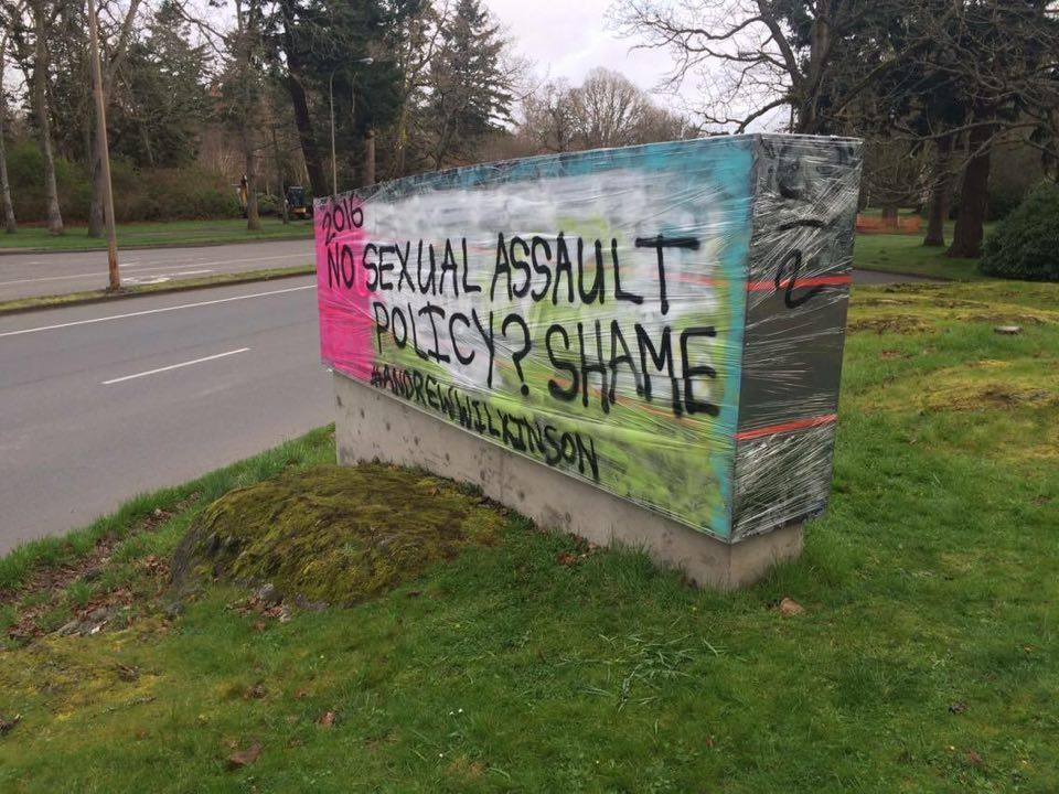 This sign by Henderson Road was used as a tool to protest the university's response to recent sexual assaults. Photo provided by Daphne Shaed