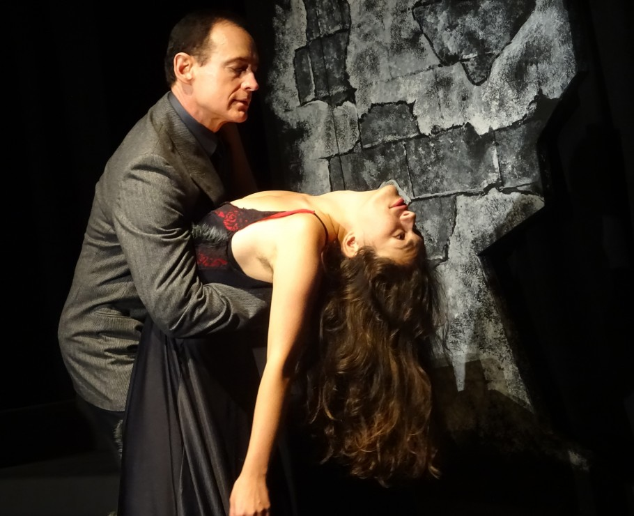 Wayne Yercha (left) and Leilani Fraser Buchanan (right) star in Mating Dance of the Werewolf at Theatre Inconnu. Photo by Clayton Jevne