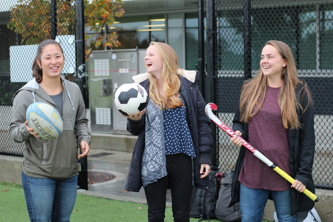 From left to right: Jess Neilson, Elise Butler, and Annie Walters-Shumka all have huge games coming up for their respective teams, starting this weekend for Vikes women's soccer and continuing next weekend for the field hockey and rugby. Photo by Cormac O'Brien/Staff Writer