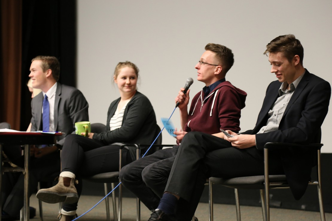 Director of Events Jordan Quitzau discusses the year so far at last Thursday's SAGM. Photo by Belle White, Photo Editor