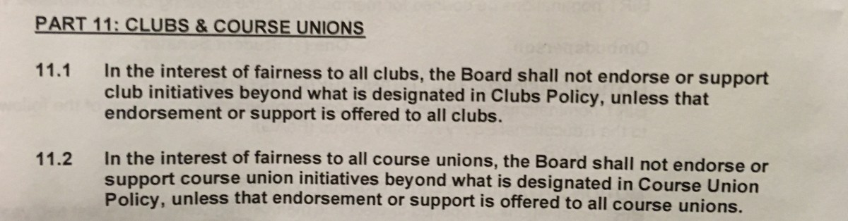 This motion was passed at a UVSS board meeting on Feb. 6 to eliminate preferential treatment of clubs and course unions. Photo by Myles Sauer, Editor-in-Chief