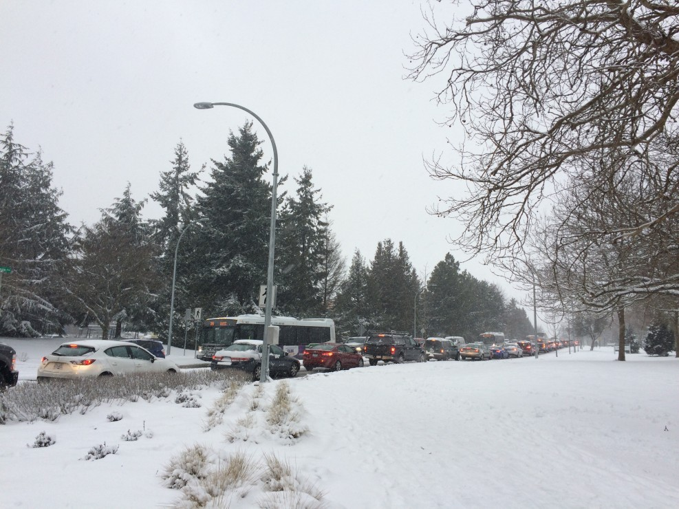 The extreme weather conditions prompted UVic to close campus, which then prompted this mess. Photo by Belle White, Photo Editor