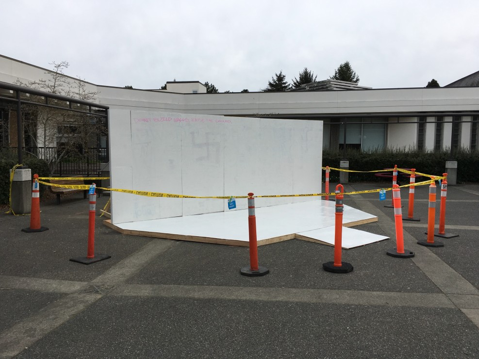 The Third Space art project was temporarily blocked off Friday morning after a number of racist messages were written on it overnight. Photo by Myles Sauer, Editor-in-Chief