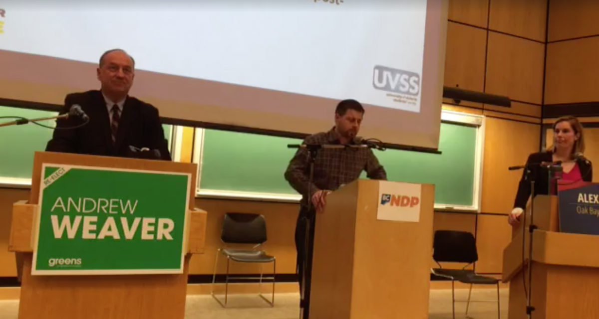 From left to right: Andrew Weaver, Bryan Casavant, and Alex Dutton square off during a candidates debate that took place last week. Screenshot via UVSS/Facebook