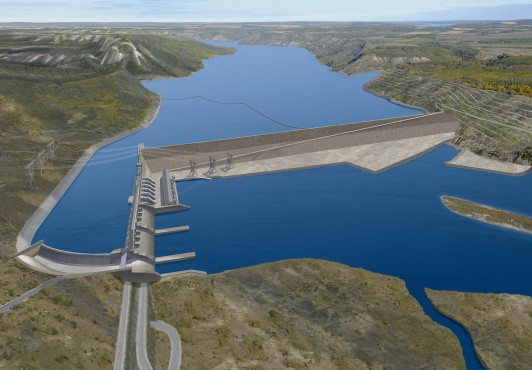 An artistic rendering of the Site C Dam energy project. Image by Province of British Columbia via Flickr