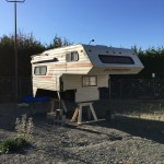 Camper van art project stands on its own legs