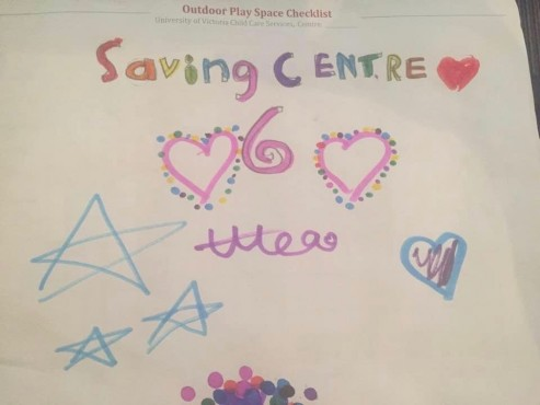 This photo provided by a parent at Centre 6 shows a poster made by one of the children at Centre 6.