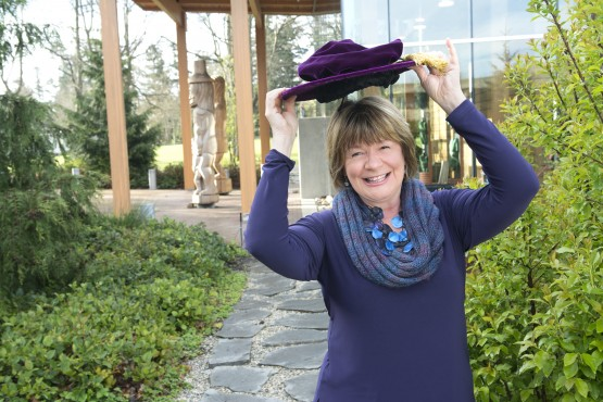 Shelagh Rogers, UVic's Chancellor, admits each and every graduate from the university with a bop of her hat. Photo by UVic Photo Services