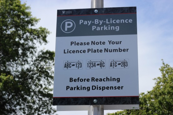 A photo of the new signs informing UVic parkers of the changes. Photo by Cormac O'Brien, Editor-in-Chief