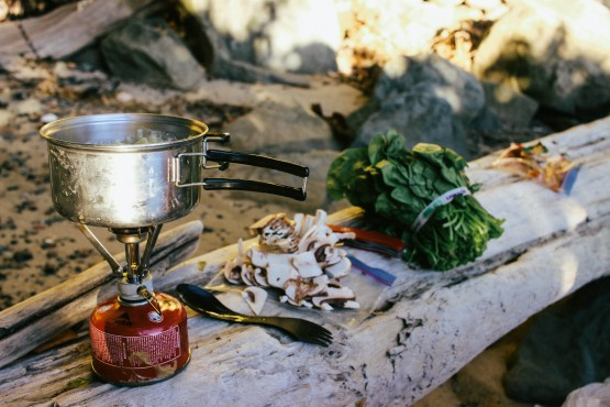A simple cooking set-up, like the one pictured, can be helpful for longer trips. Photo by Emily Duncan-Hansen