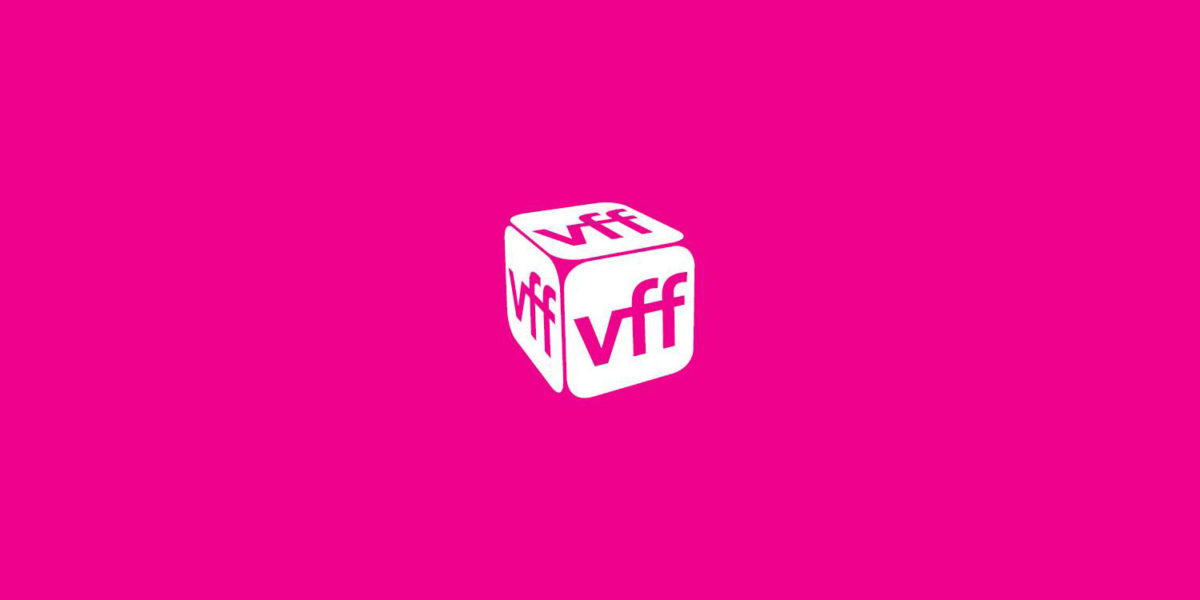 The Victoria Film Festival logo against a pink backdrop.