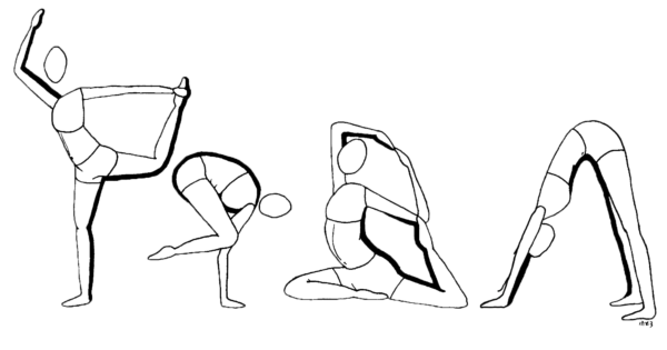 Drawing features four people in various yoga poses.