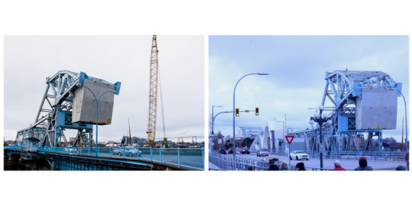 A picture of the Blue Bridge printed in our 2013 article that discussed the start of the new bridge construction next to a picture of both the old and new bridges in 2018 after construction.
