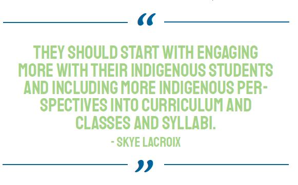 BIPOC representation at UVic, quote from Skye Lacroix