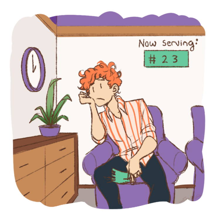 Graphic of person feeling the long wait times for mental health services
